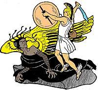 Персей поднял щит Афины, блестящий как зеркало, навёл его на Медузу и, глядя в него, вынул меч Гермеса и сразу отсёк ей голову.