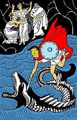 Персей, как хищная птица, упал с высоты на чудовище и нанёс ему удар мечом.